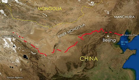 mapa kineski zid