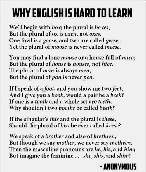 why englihs is hard to learn
